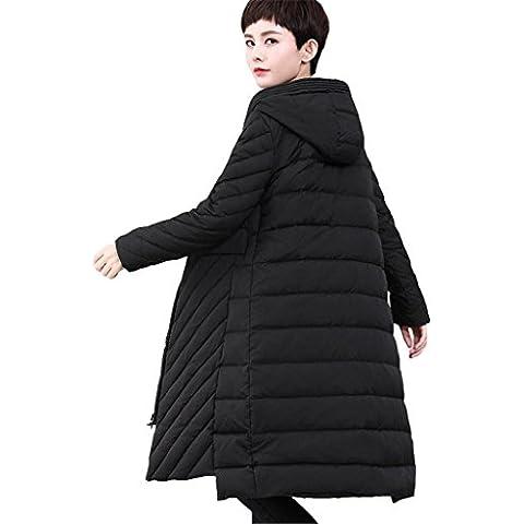 ZYQYJGF Negro Por La Chaqueta Con Capucha De Las Mujeres Full Zip Caliente Manga Larga Suelta Color Sólido Ligero Espesado Puffer Coats .