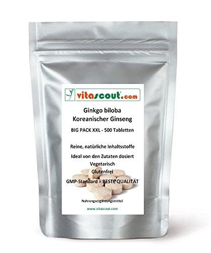 500 vegetarische Tabletten - Ginkgo biloba & Panax Koreanischer Ginseng - Formula-MIX-EXTRAKT entspricht 4000mg - HOCHDOSIERT - PREMIUMQUALIÄT