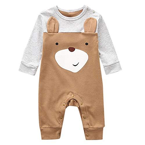 DAY8 Combinaison Bébé Garçon Naissance Printemps Cérémonie Pyjama Body Bébé Garçon Manche Longue Vêtements Bébé Fille Pas Cher Été Barboteuse Bébé Mode Combi Grenouillères (95(12-18 Mois), Marron)
