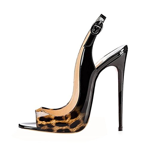 EDEFS Scarpe Peep Toe Donna Slingback Sandali Tacco a Spillo Con Cinturino Caviglia Fibbia Gradients