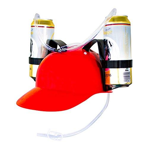 Drinking Helmet 2 latas o botellas - rojo aproximadamente 27 x 18 x 13 cm - Beer Helmet dispensador de bebidas para fiestas y en movimiento - Grinscard