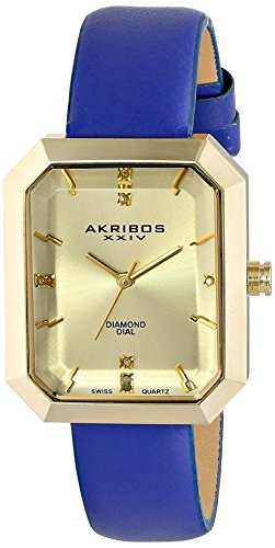 Akribos XXIV Women's AK749BU Lady Diamond-Accented Gold-Tone Watch with Blue Leather Band