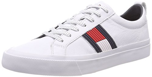 Tommy Hilfiger Herren Flag Detail Leather Sneaker, Weiß (White 100), 45 EU