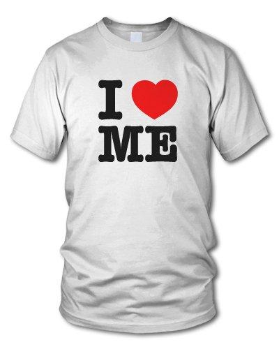 shirtloge - I LOVE ME - KULT - Fun T-Shirt - in verschiedenen Farben - Größe S - XXL Weiß (Schwarz)