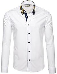 BOLF Mens chemise en casual shirt hommes Scène Slim Fit Classique 2B2