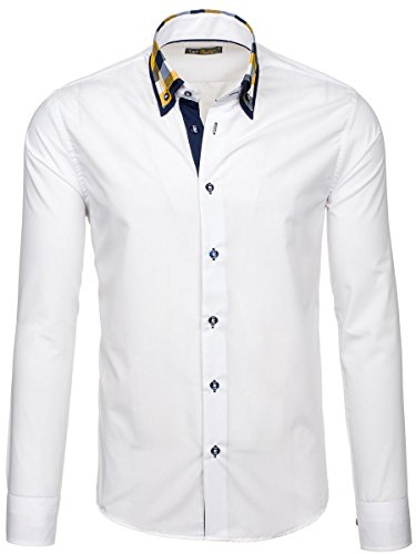 BOLF Mens chemise en casual shirt hommes Scène Slim Fit Classique 2B2 Blanc
