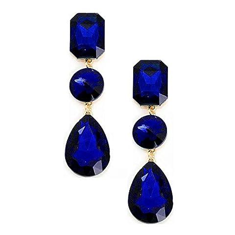 Boucles d'oreilles or schmuckanthony Clips de trombones Clip On Boucles d'oreilles Cristal Bleu Bleu roi Royal 8cm de
