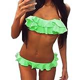 Amlaiworld Damen Bunt Rüschen Band Badeanzüge Niedlich Sport BH Tankini Sport Elegant Gepolstert Bademode Mode Strand Push up Bikini Set für Mädchen (M, Grün)