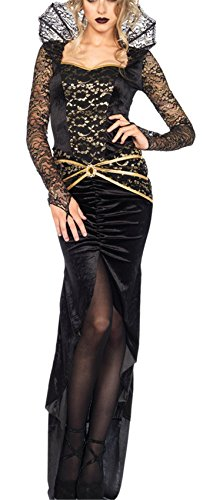 een Kostüm Evil Wicked Königin Kostüm Damen schwarz Halloween Cosplay Kleid black Queen Gothic Hexe Teufelin Kleid (Wicked Kostüme Hexe)