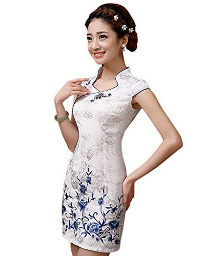 Cheongsam Kleid Muster (Yue Lian Sommer Damen Retro Qipao Kleid mit Blumen Muster Partykleid Etuikleid (EU:34-China:M))