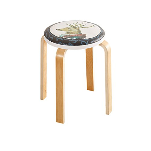 Zähler Höhe Tisch Hocker (CKH Runde Hocker Mode Kreative Massivholz Wohnzimmer Kleine Stuhl Hause Einfache Moderne PU Tisch Bank Erwachsene Esszimmer Stuhl)