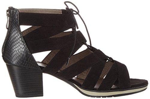 Jana 28307, Sandales Bout Ouvert Femme Noir (Black 001)