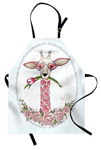 ABAKUHAUS Valentinstag Kochschürze, Süße Hipster Giraffe mit Tulpe und Herz geformt Brille Vintage Frame, Farbfest Höhenverstellbar Waschbar Klarer Digitaldruck, Babyblau Hellrosa