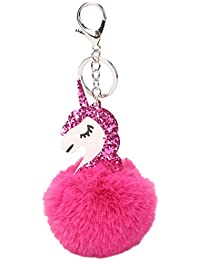 Greenlans Rose Red : Cute Shiny Sequin Unicorn Keychain Pom Ball Keyring Bag Hanging Pendant (Rose Red)