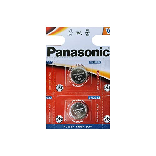 Panasonic CR2032 Lot de 2 Piles Bouton au Lithium 3V
