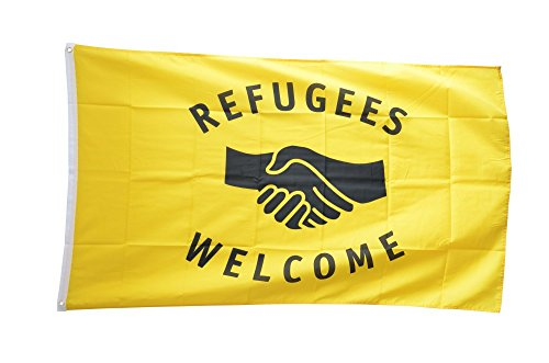 Fahne / Flagge Refugees Welcome + gratis Sticker, Flaggenfritze®