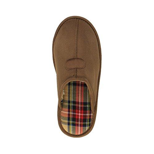 Herren Luxuriös Warm Winter Pelz Gefüttert Gemütlich Geschenk Hausschuhe Pantoffeln Größe Hellbraun Schottenstoff