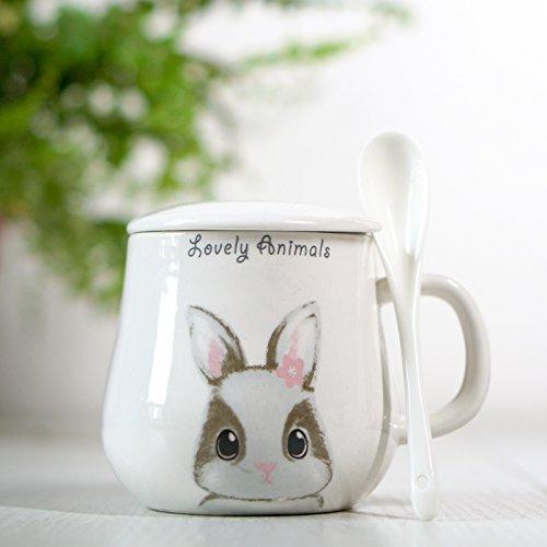 Damlonby La jolie tasse mug tasse de lait frais Petit-déjeuner Bol avec couvercle en céramique cuillère tasses, des petits lapin blanc cuillère en céramique avec couvercle
