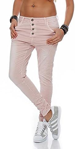 SKUTARI Damen große Größen Boyfriend-Jeans Reißverschluss Knopfleiste (D48/4XL, Rosa)