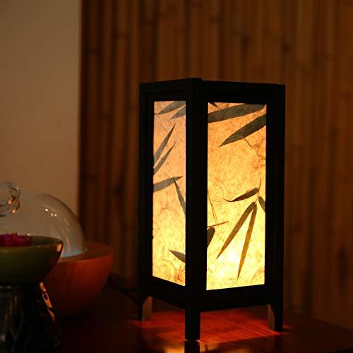 Lampes de chevet en bambou asiatique Art Zen, abat-jours en bois, lampes de table, veilleuses au Royaume-Uni Spécifications: 12CMX12CMX27CM