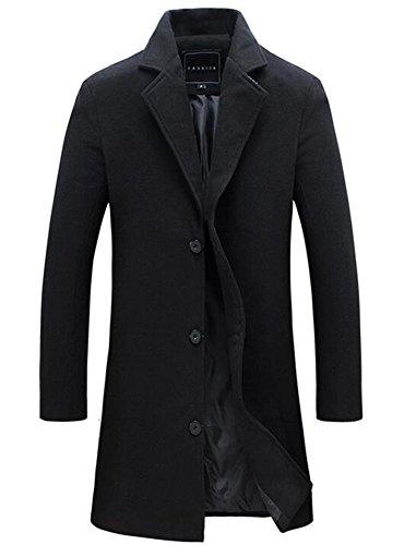 Herren Mantel Slim Fit Gekerbten Kragen Jacke (L, Schwarz)