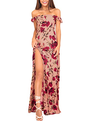 Missy Chilli Damen Lang Kleid Sommer Elegant Off Shoulder Rose Blumen Schlitz Maxi Kleid Abendkleid Dress Rot