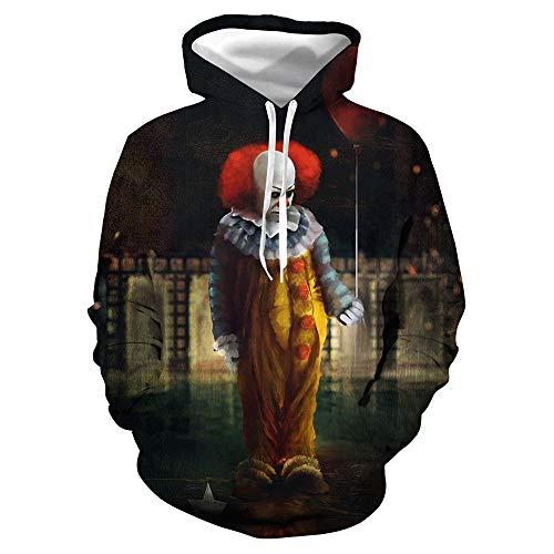 Teufel Kostüm, Halloween Horror Killer Clown 3D Digitaldruck Hoodie, Kapuzenpullover für Männer und Frauen,Schwarz,2XL