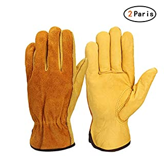Chenqi 2 Pairs Heavy Duty Gardening Gloves Waterproof Yard Gardening Farm Motorcycle L