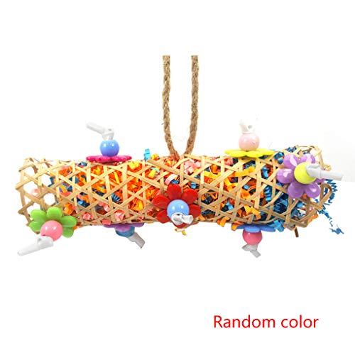 Techting Zufällige Farbe Vögel Papageien-Käfig hängende Spielwaren Holz Strick Rattan Schaukel Chewing Biss hängenden Seil Käfig Spielzeug