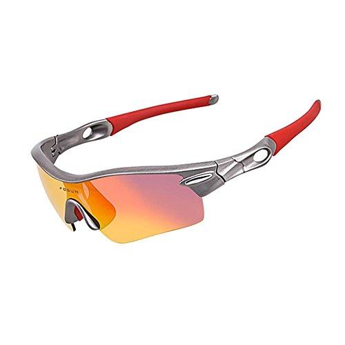 JING Männer und Frauen Polarisierte Gläser Outdoor Sports Sonnenbrillen Winddicht und Verhindern Sand Goggles für Reiten Klettern und Skifahren, Grey