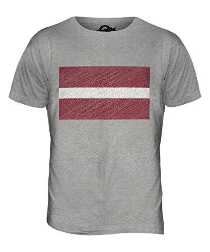 CandyMix Lettland Kritzelte Flagge Herren T Shirt Grau Meliert