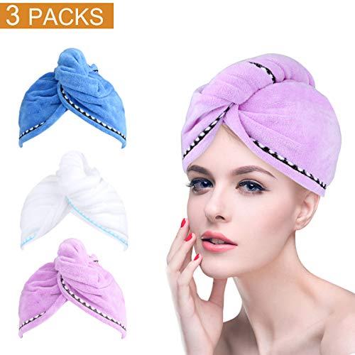 3 PCS Haarturban Handtuch Wrap Turban [62cmX25cm] Haartrockentuch Haar-trocknendes Tuch Handtücher Haarpunzel Haar trocknendes Tuch schnelltrocknendes Handtuch saugfähig Baumwolle (Blau, Lila, weiß)