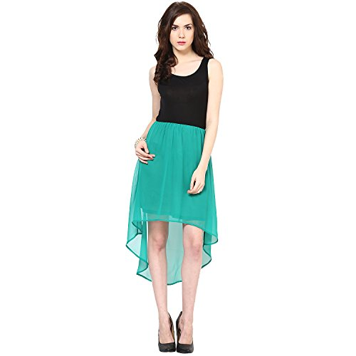 Harpa Women's Silk Skater Dress (GR2625_Green_Small)  available at amazon for Rs.500