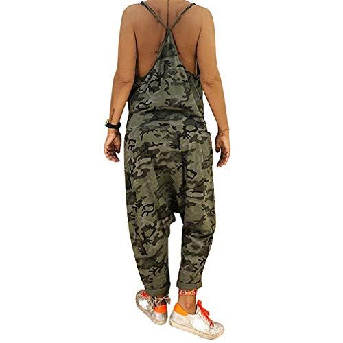 chenqi Tuta da donna Bretelle senza maniche Estate Sciolto nel complesso Pantaloni Harem mimetici Tuta corta casual Quotidiano