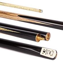 Powerglide Purist - 2 Stecche da biliardo 1/2 in frassino stagionato a grana liscia, manico in ebano, 144,7 cm, nero, 19oz