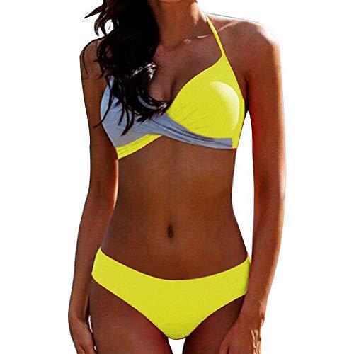 Bikini Elegante Traje de Baño Conjunto Bañador Halter Sexy Sólido para Mujer Ropa de Playa Traje...