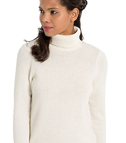 WoolOvers Pull à col roulé - Femme - Laine d'agneau Cream (Winter White)