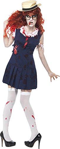 Halloween Einfache College Kostüme (Smiffys, Damen Zombie-College-Studentin Kostüm, Kleid und Mütze, Größe: L,)