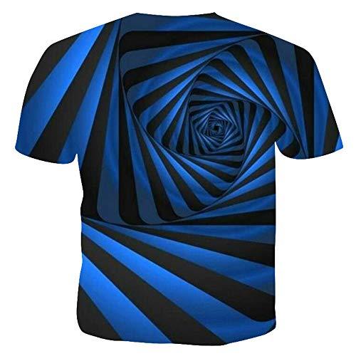 T-Shirt Herren Kurzarm Rundkragen 3D gedruckt Sommer Herren Persönlichkeit Tops,Männer Casual T-Shirt Blau Blumen M