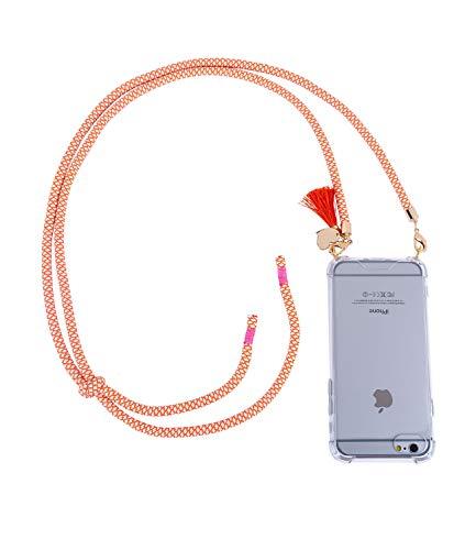 dyhülle kompatibel mit iPhone 6/6s/7/8 mit knallig orange weiß geflochtener Kordeln zum umhängen (425-592) ()