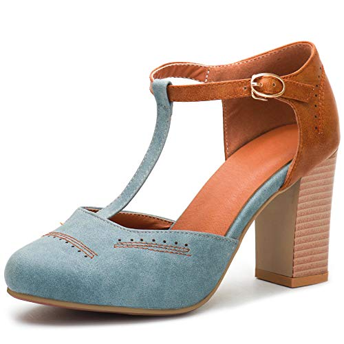 DoraTasia Frauen Sommer Gemütliche Vintage Sandalen Ankle T-Strap Pump Chunky Heel Schuhe T-strap Dorsay Pump