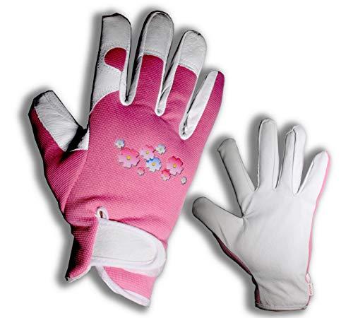Elegante Gartenhandschuhe für Damen aus Leder mit Fingerschutz. Perfekt für Garten und Haus, absolut sicher zum Beschneiden von Rosen - Absolut Leder