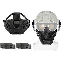 Aoutacc Airsoft Máscara de Media Cara de Malla de Acero para CS/Caza/Paintball/Tiro, Negro