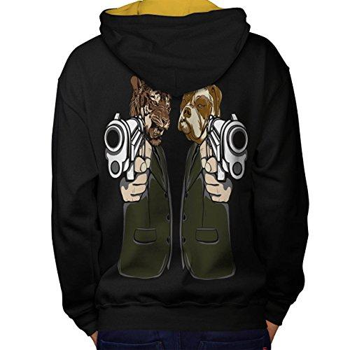 Kostüm Angriff Tier (Tier Mafia Gewehr Gangster Tier Maske Men M Kontrast Kapuzenpullover Zurück |)