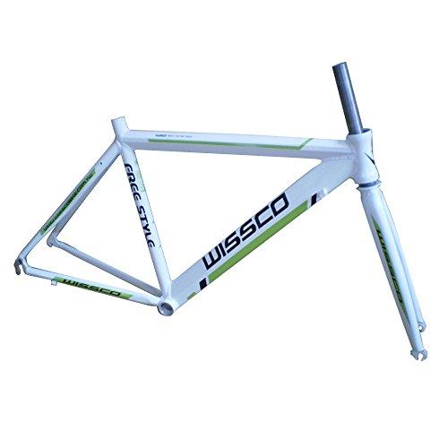 Sogar ultra-leggero in alluminio strada della pagina della bicicletta 700C * 48CM forcella, bianco e verde - Strada Del Carbonio Frame Set