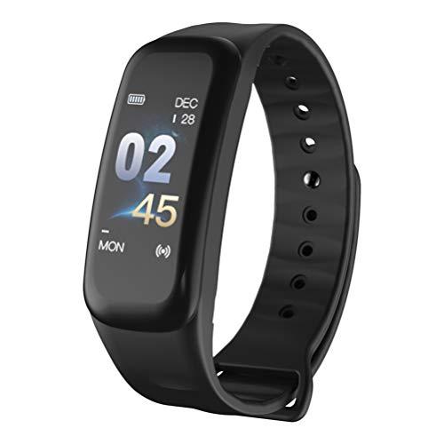 Vosarea Farbdisplay 0,96 Smart Armbänder Fitness Tracker Herzfrequenzmonitor Blutdruckmonitor Bluetooth Smart Sportuhr (schwarz)