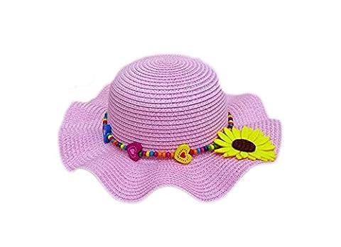 Enfants été Plage Chapeaux de Soleil Chapeau de Paille avec un Tournesol pour les Filles 7 Couleurs, Rose 1, Convient 2-6 ans