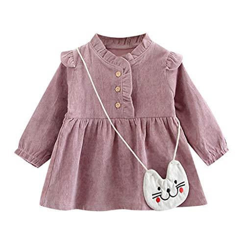 Kostüm Kätzchen Regenbogen - INLLADDY KostüM Kleid Baby MäDchen Langarm Einfarbig LäSsig Rock Party Kleid Kinderbekleidung +KäTzchen UmhäNgetasche Violett 0-6Monate