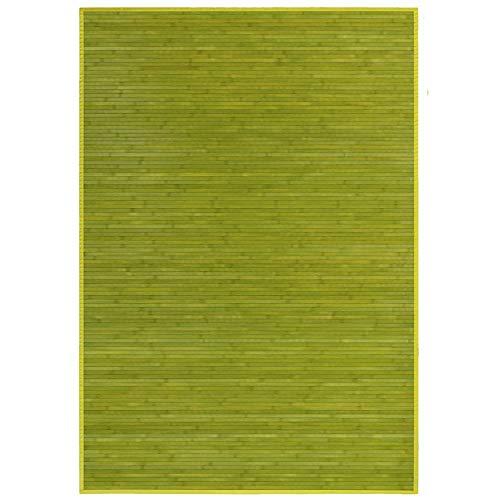 Alfombra de Salón o Comedor, Verde, con Base Antideslizante, de Bambú Natural 140 X 200cm Natur, 140x200...