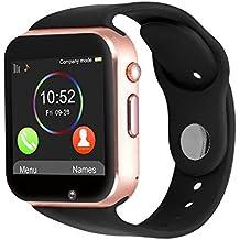 Reloj Inteligente Kivors con Bluetooth y Ranura para Tarjeta SIM para Usar Como Teléfono Móvil. Reloj Deportivo con Rastreador de Actividad, Podómetro Inteligente, Compatible con Android, Gold Black